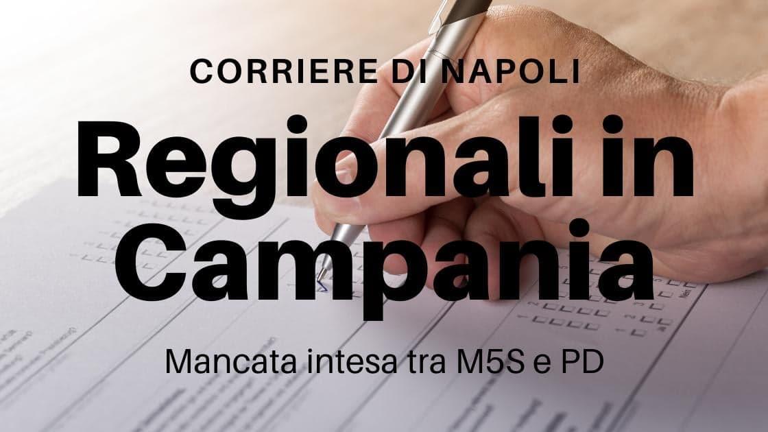 Politica: Regionali Campania, Mancata intesa M5S-PD
