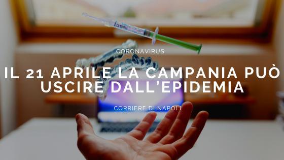 Coronavirus: Fase 2, il 21 Aprile la Campania può uscire dall'epidemia