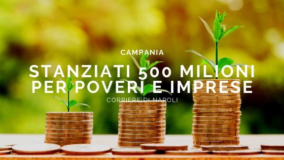 Coronavirus: in Campania stanziati 500 milioni per poveri e imprese